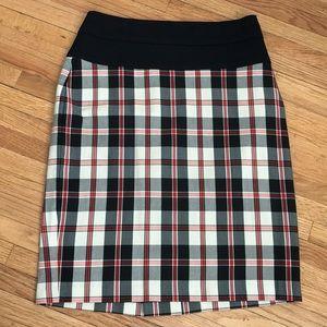Eva Franco stretchy plaid knee length pencil skirt